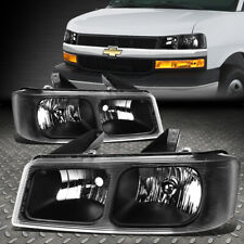 FOR 2003-2017 CHEVY EXPRESS/GMC SAVANA PAIR BLACK HOUSING UPPER HEADLIGHT/LAMP