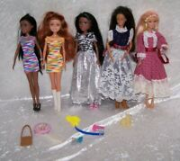 Barbie Doll Mixed Lot of 5 Multi-Racial Retired Washed clean Reconditioned Hair