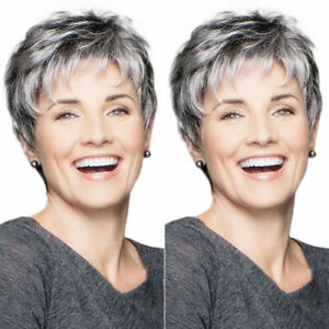 Womens Ladies Ombre Silver Gray Short Wig Boy Cut Pixie Hair Full Wig Cosplay
