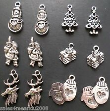 12 Silvertone Christmas Santa Deer Present Tree Mittens Charms Jewelry Making D2