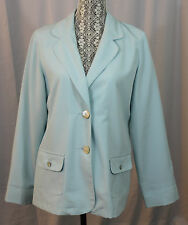 Orvis Womens Pale Blue Light Weight Blazer Coat Abalone Shell Buttons Size 12