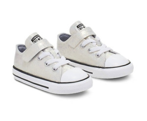 Converse Chuck Taylor All Stars Low Top Sneaker Wolf Grey Glitter Shoes Infant 4