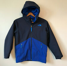 North Face YOUTH Boys Windwall Full Zip Jacket Blue Medium 10/12 Hooded Lined