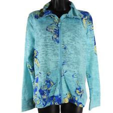 Kim Rogers Blue & Yellow Floral Light Weight Zip Up Jacket Women's Petite Sz PS