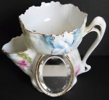 Antique RS Prussia Rare Porcelain Left Handed Shaving Mug Mirror Scuttle