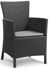 Allibert 'Iowa' Rattan Effect Outdoor Garden Dining Chair. Grey / Anthracite