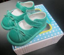 NEW WEE SQUEAK BABY GIRLS TURQUOISE GREEN LEATHER MARY JANE SQUEAKY SHOES SZ 3