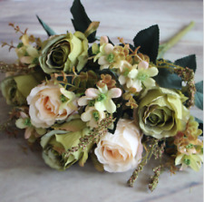 Green-7heads Artificial Fake Retro-ROSE Silk Flower Bridal Hydrangea Wedding