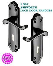 1 Ashworth Interior LOCK Door Handle PACK Black Nickel Finish 'Ashford'  D9