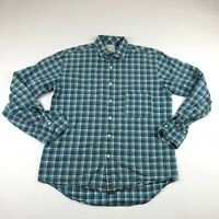 Billy Reid Mens Standard Cut Teal Blue Check Long Sleeve Button Down Shirt Large