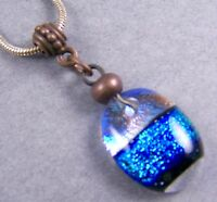DICHROIC Glass PENDANT Clear Blue Teal Green Verdigris Beaded Copper Pewter Bail