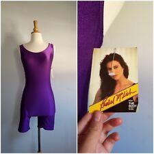 Vintage 1980s Rachel McLish Body Co Purple workout unitard shiny Nylon Spandex M