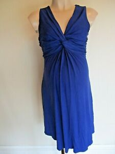 RED HERRING MATERNITY GORGEOUS BLUE TWIST FRONT DRESS SIZE 12