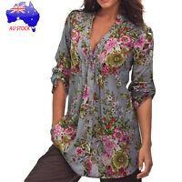 AU Women's Vintage Floral Print V-neck Tunic Tops Loose Plus Size Blouse T Shirt