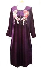 15097 Ladies' knitted  Velvet multi  colour embroidery floral long kaftan (XXL)