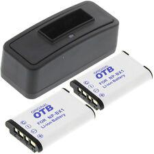 Ladegerät + 2 Akkus Typ Sony NP-BX1 Ladestation Accu Battery Ersatzakku