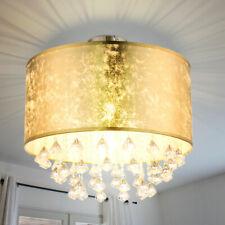 Decken Lampe Wohn-Zimmer Kristall Kronleuchter Blatt-Gold Design Textil Leuchte