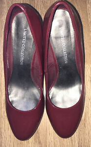 M&S LIMITED EDITION LADIES BURGUNDY PATENT STILETTO SHOES SIZE 4.5 WORN ONCE