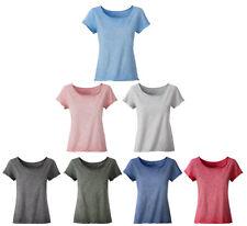 Femmes Jille T-Shirt Grand Col Rond Décolleté Spray Bio Coton