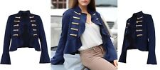 New Women Suede Military Style Long  Bell Sleeves Ruffle Jacket UK