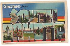 GREETINGS LARGE LETTER Multi Image Pictures South Dakota Postcard SD Linen