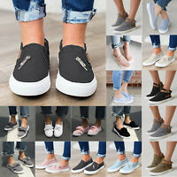 Women Flats Sneakers Comfort Canvas Trainer Shoe Plimsolls Slip On Loafers Pumps