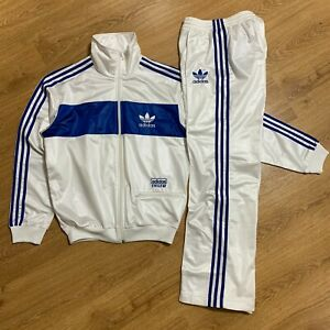 Adidas Chile 62 White Blue Shiny Full Tracksuit Size M Rare Excellent