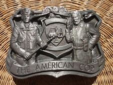 RARE THE AMERICAN COP BELT BUCKLE PEWTER JUSTICE POLICE BATON LAW ENFORCEMENT