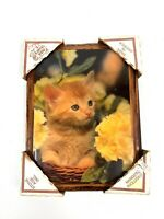 """Vintage Cats Kittens Decoupage Wood Plaques Picture Wall Art Hanging  6.5""""x8.5"""""""
