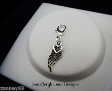 Silver Love and Guidance Wing Clip on Charm for Bracelets Necklaces