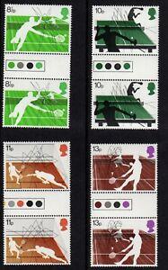 SG 1022 - 1025 Racket Sports 1977 Traffic Light Gutter Pairs MNH Cat Value £7.50