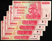 100 Million Zimbabwe Dollars x 5 Banknotes AA 2008 Currency Paper Money Lot 5PCS