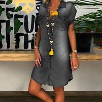 KQ_ Women Casual Turn Down Collar Single-breasted Pockets Knee-length Denim Dres