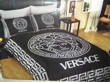 Versace Black / Silver Medusa Satin Bed Set, Queen Size