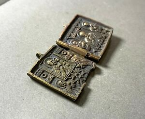 """Ancient folding icon, """"marching"""", 17-19th century, bronze, Found in the ground."""