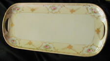 OLD HAND PAINTED NORITAKE NIPPON PORCELAIN SERVING TRAY w HANDLES, ROSES