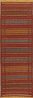Flat-Woven Striped Kilim Geometric Oriental Runner Rug Wool Kitchen Carpet 2x7