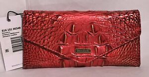 Brahmin Melbourne VERONICA Trifold Envelope Leather Wallet CRIMSON Red Gold NWT
