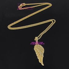 Real Women Girl 18k Yellow Gold GF Angel Wing Necklace Pendant Simulated Diamond