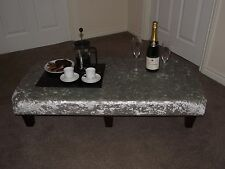 xxl foot stool silver crushed velvet ideal snack table footstool dark wood leg