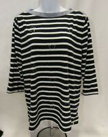 Women's XL Navy Blue and White Striped Tommy Hilfiger Top