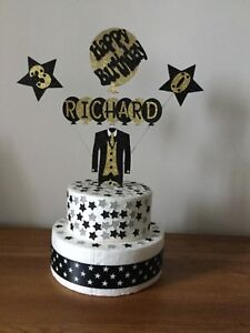 Cake Decoration Topper Personalised Tuxedo Star Birthday Any Name Age or Colours