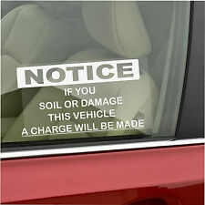 Soil,Mess,Damage Window Sticker-Taxi,Minicab,Minibus,Cab,Driver Car Warning Sign
