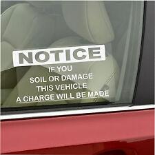 Soil,Mess,Damage Window Sticker-Taxi,Minicab,Minibus,Cab,Driver Car Warning Sign