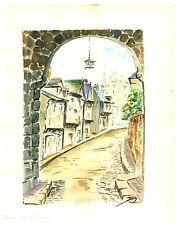 Aquarelle originale  sur papier canson  Dinan  Rue du Jerzual  J.Lucas