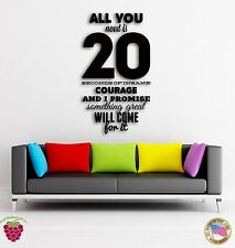Wall Sticker Quotes Words Inspire All You Need Is 20 Seconds Of Insane  z1461