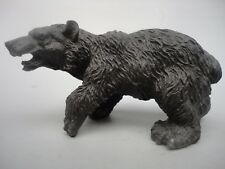 7'' Collected Old Chinese Bronze Black Bear Beast Brave Troops Statue Decoration