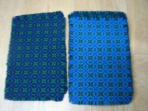 Set of 6 Unused Welsh Wool Tapestry Table Place Mats ~ Reversible Blue Green
