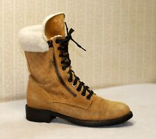 2000$ CHANEL beige suede quilted lace up winter combat boots 40-39 us8.5-9 uk6.5