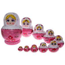 10pcs/set Beautiful Pink Flower Wooden Russian Nesting Dolls Babushka Matreshka